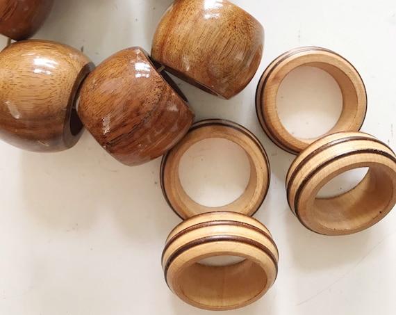 vintage set of mid century modern wood napkin rings