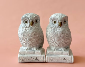 1960s hand painted white owl bookend set of 2 / library office decor