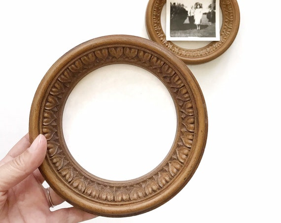 mid century set of circle picture frames | faux wood frames