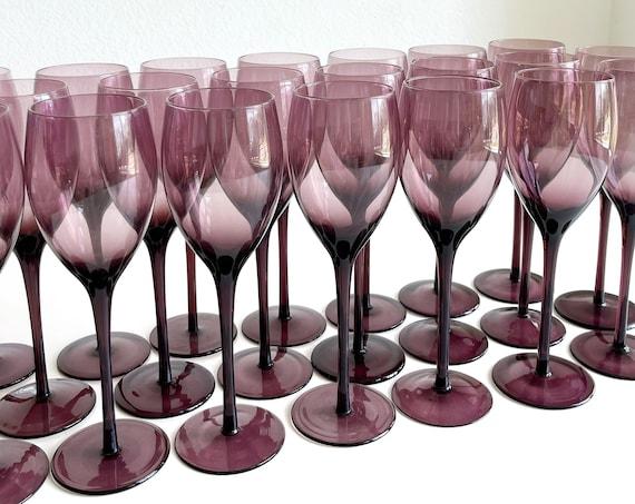 set of 6 tall amethyst violet purple glass champagne wine stemware / smokey glass goblets flutes