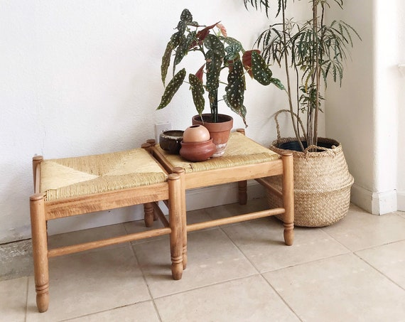 rustic vintage woven straw turned wood stool   plant stand seat   one stool