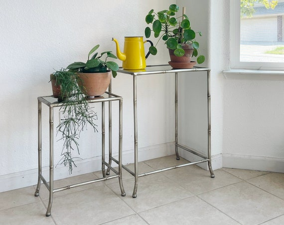 faux metal bamboo nesting side tables with glass tops | stacking end table set