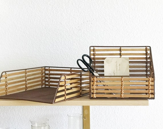 metal woven rattan bamboo office paper holder / storage organizer