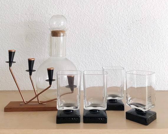 mid century modern set of black purple short stemmed tumbler cocktail glasses / gift barware
