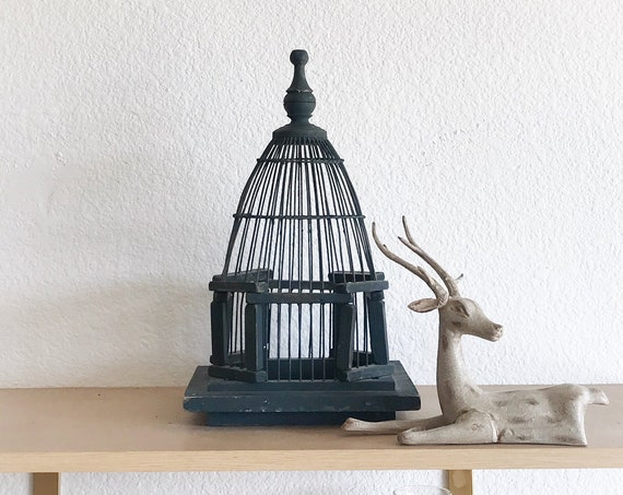 vintage french dome wooden metal wire birdcage / small birdhouse