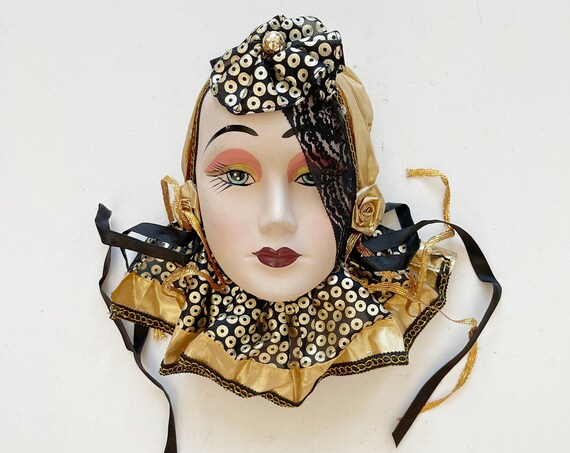 art deco 1980s hand painted woman face mask sculpture | wall hanging mask