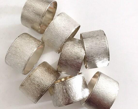 vintage set 8 of glam hollywood regency silver napkin ring holders