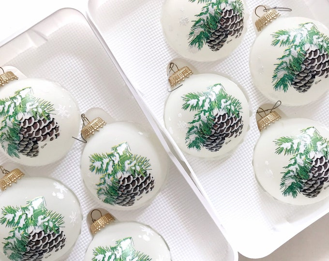 white frosted krebs glass christmas ball ornaments / set of 2 boxes pine cone snow decoration