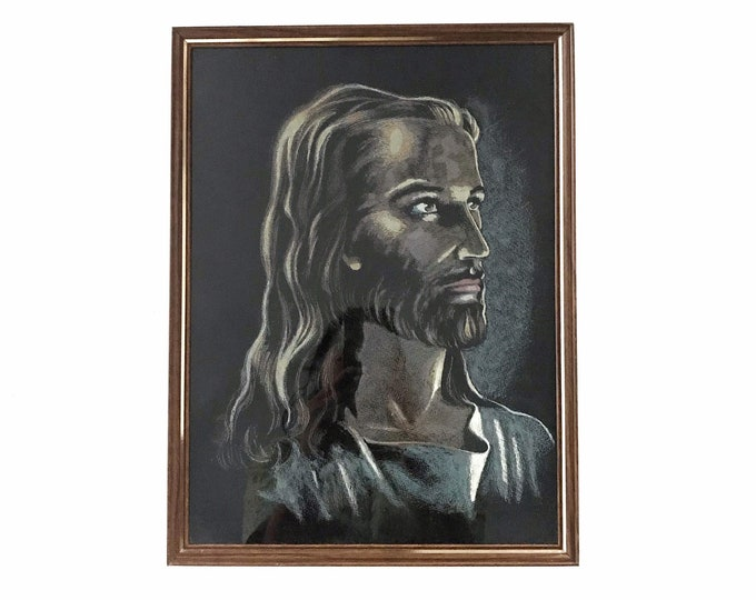 framed vintage jesus pastel portrait painting religious gift / christian christianity
