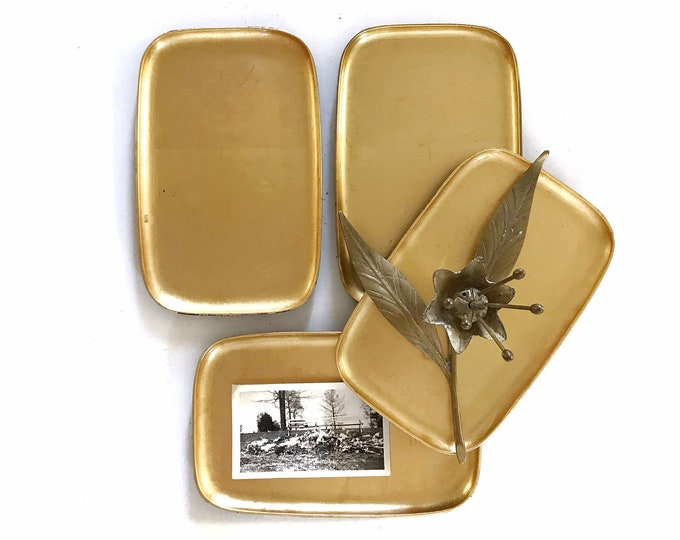mid century small gold black asian plastic matching trays | set of 3