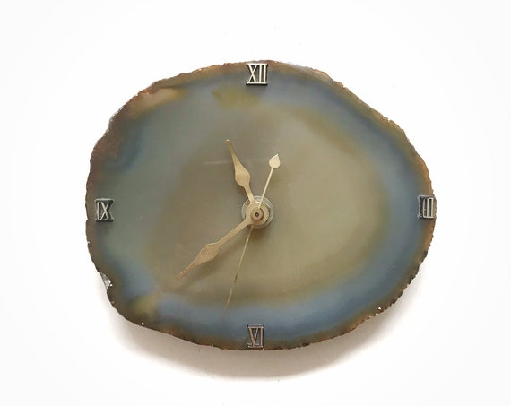 blue boho geode agate rock wall hanging clock