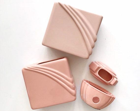 pink Art Deco ceramic cotton ball storage   mid century modern flower vase