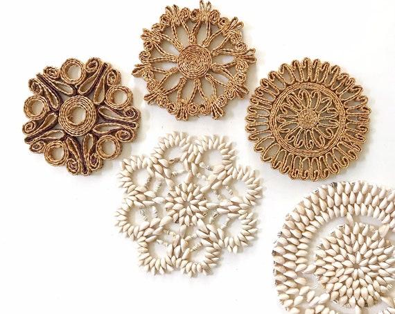 set of straw rattan wall baskets / seashell trivets / shells beach house decor