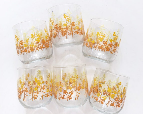 vintage set of libbey flower yellow cocktail drinking glasses | set of 6