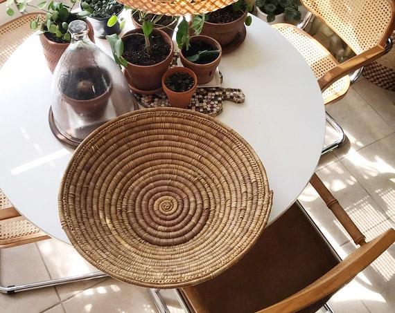 extra large coiled woven straw raffia wall hanging basket | native american