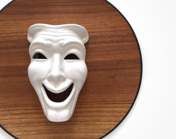 white ceramic theatrical face mask sculpture | theater happy head bust figurine