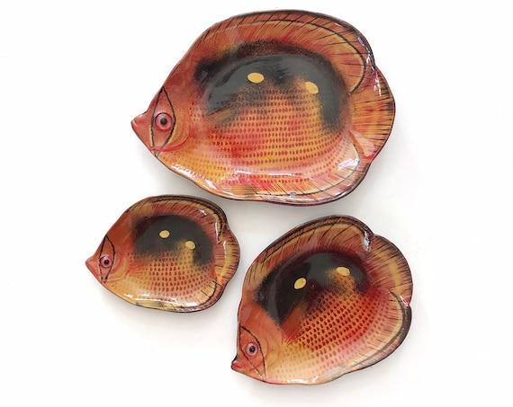 set of 3 tropical fish nesting sushi plates | sea fish figurine dishes