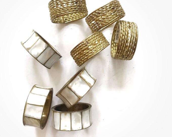 vintage set 4 of hollywood regency gold brass shell napkin ring holders