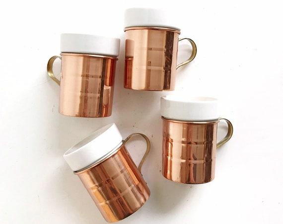 rustic regency copper ceramic cups / barware tumbler mugs / box set of 4