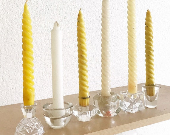 set of 6 mismatch clear glass candlestick holders | tapered candleholders