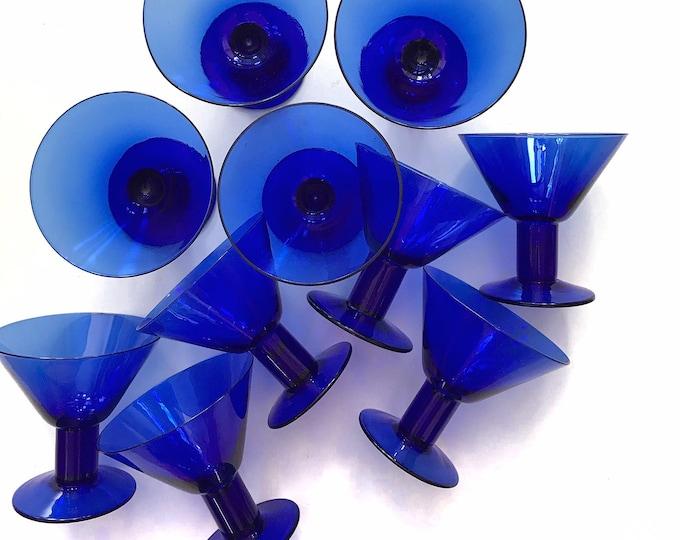 set of 10 cobalt blue glass champagne wine glass goblets