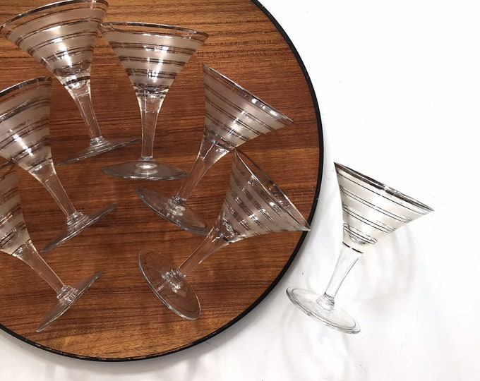mad men style set of martini glasses with silver rim | goblets | set of 7