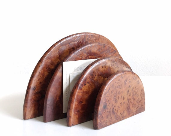 wood mid century modern art deco | office note organizer | paper mail file