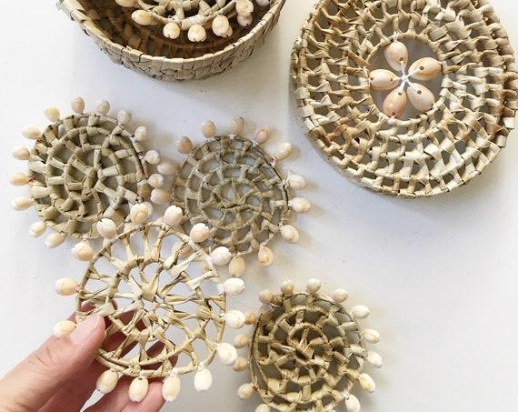 set of 6 capiz sea shell drink coasters / seashell trivets