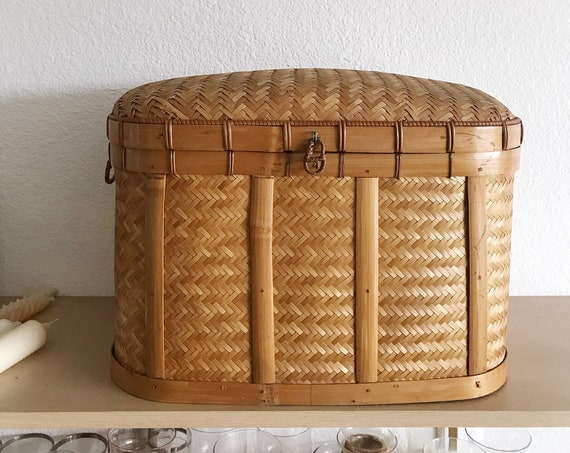 mid century woven bamboo rattan wicker chest with lock / trunk / basket