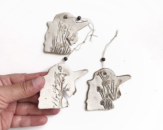 set of vintage stoneware unicorn figurine ornaments | tree ornaments
