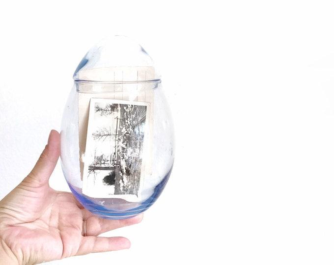 large vintage egg shaped glass jar terrarium // display storage
