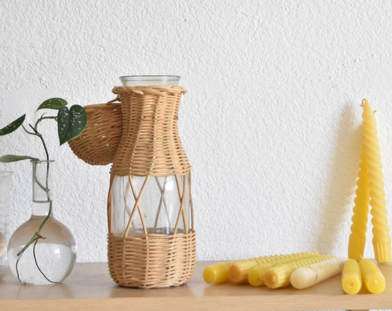 small woven bud glass flower vase / propagating station / boho plant holder