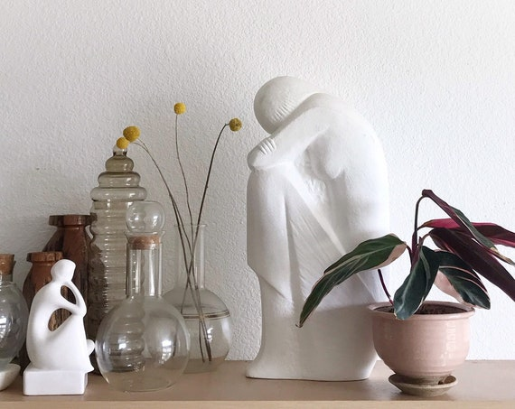 large sad white minimalist lady figurine sculpture / modern woman statue
