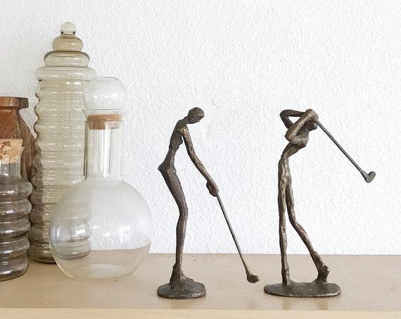 metal brutalist abstract set golf sculpture office bookends / golfer golfing figurine
