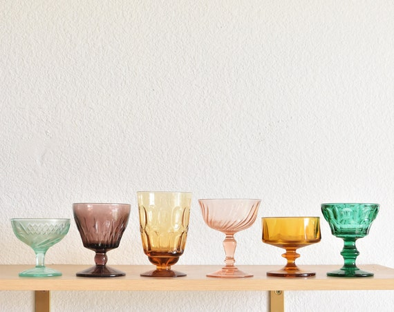 mix collection of 6 multicolored amber glass champagne wine glass goblets / depression glass set