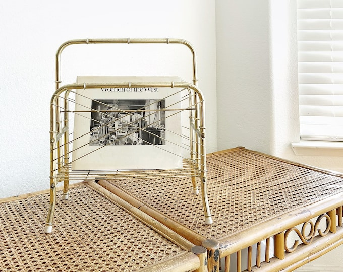 vintage gold faux bamboo brass magazine rack / hollywood regency home storage