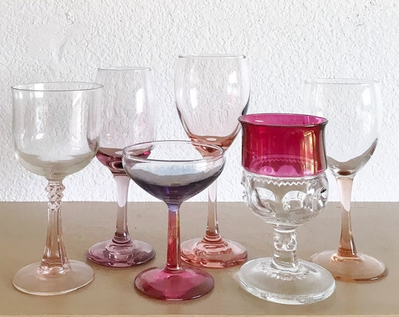mismatched set of 6 pink stemware champagne wine glasses / gift barware