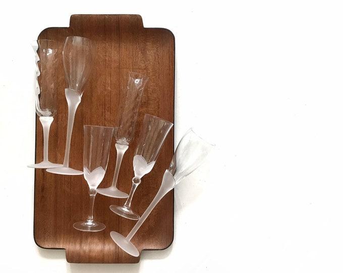 vintage set of 6 modern frosted white glass cocktail stemware | wedding flute wine glasses