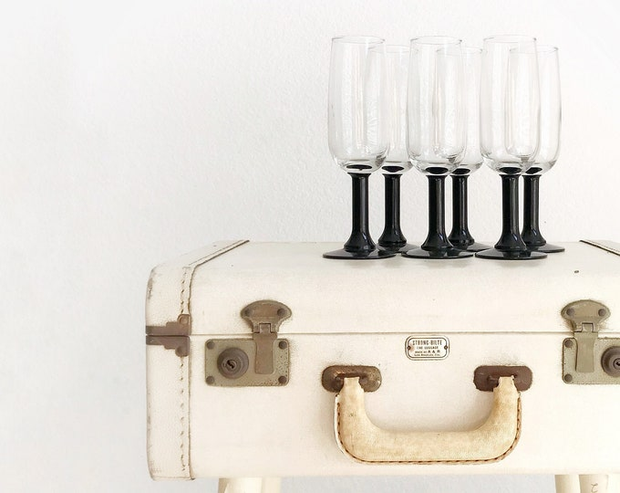 set of 6 black high stemware flute champagne glasses / barware housewarming wedding gift