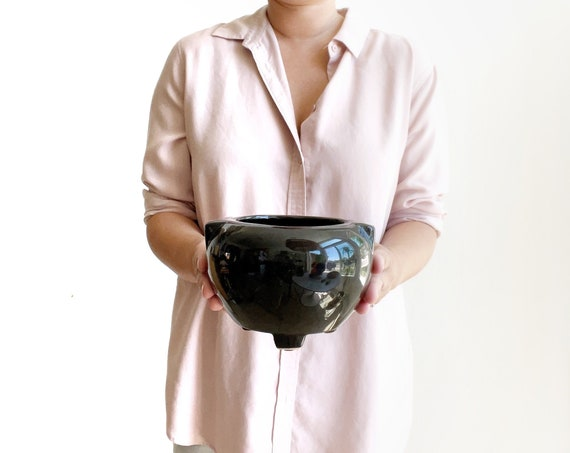 footed art deco solid black ceramic pottery flower vase