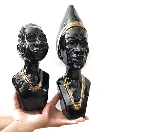 set of 2 black ceramic african man and woman sculpture | black art