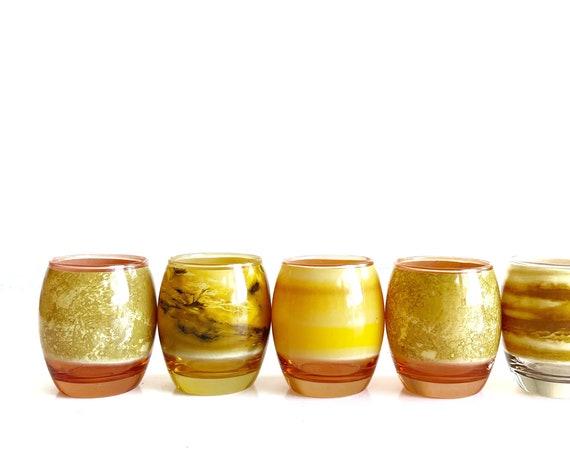 retro yellow drinking glass tumbler set of 5