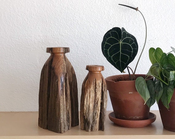 pair of primitive mid century natural wood candleholders