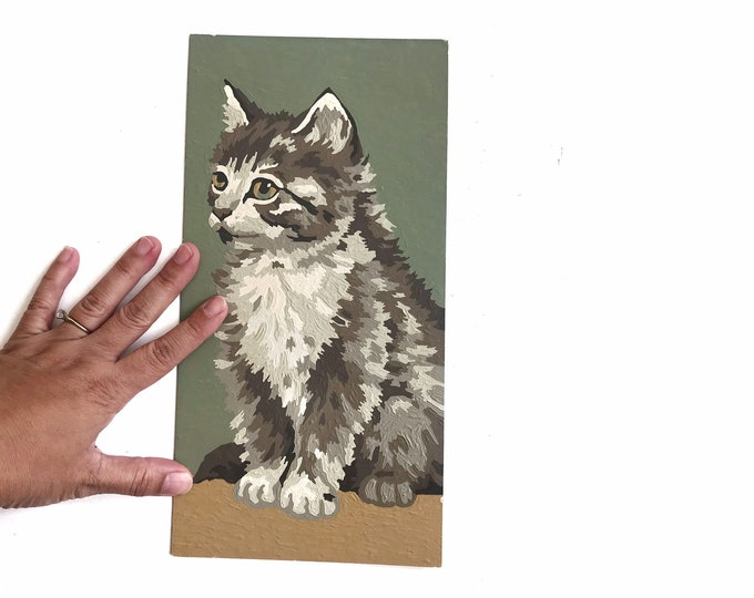 vintage paint by number kitty cat painting | kitten portrait