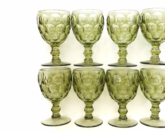 collection of 8 ornate green honeycomb glass champagne wine goblets / depression glass set