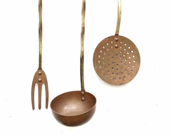 set of 3 long solid brass copper french style hanging kitchen utensils / ladle / spoon