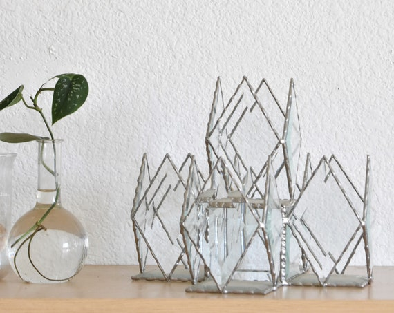 large vintage beveled geometric glass box sculpture / terrarium collection / candleholder centerpiece