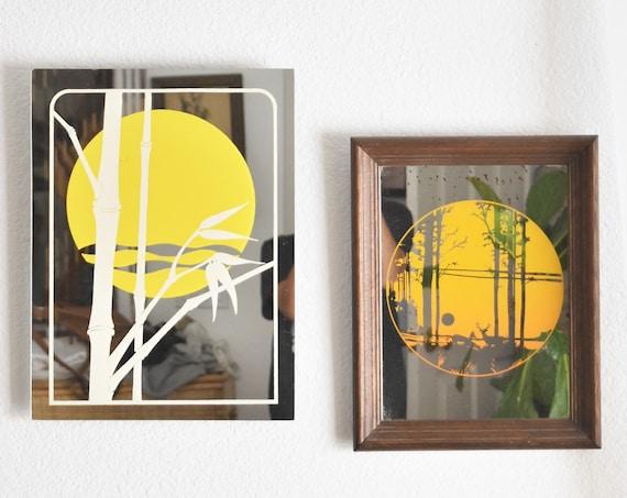 retro vintage sun mirror   wall hanging sunsetting sunset glass mirror art