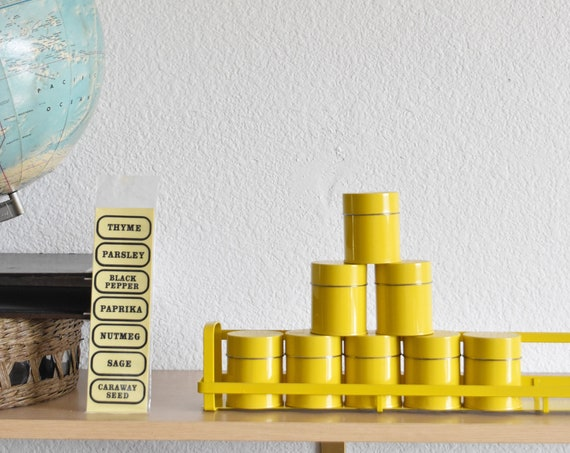 1960s mid century dansk yellow spice rack container canisters | salt and pepper shakers