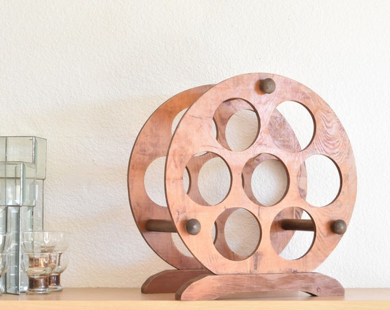 mid century modern round solid wood wine bottle rack holder